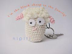 Keychain pendant crochet SHEEP LAMB  Valentines Day gift by nipiti
