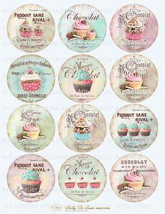 Shabby chic Sweets Circles Micro slides  25 by arinaatelierDigital, $4.90