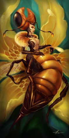 "Bees: ""Queen #Bee,"" by yangtianli, at deviantART. Many peoples, including the Celts, revered the Bee."