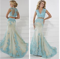 Crop Top Prom Dress Two Piece Sexy Lace Formal Gowns 2015 Longo vestido festa Custom Made Fast Shipping