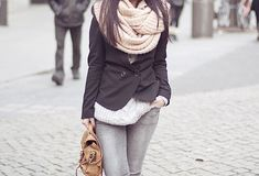 big scarf, cute short jacket and nice bag...