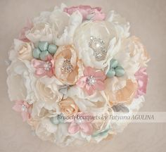 This listing is for a Blush Pink, Ivory, Pale yellow and Pistachio wedding brooch bouquet. The total price for this bouquet depends on the size:
