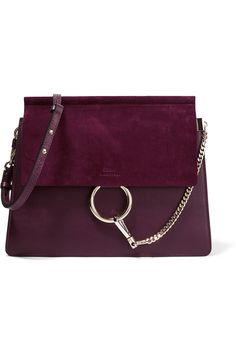 CHLOÉ Faye medium leather and suede shoulder bag: grape leather and suede (Calf) Snap-fastening front flap Designer color: Dark Purple Comes with dust bag Weighs approximately Made in Italy Chloe Bag, Sac Chloe Faye, Faye Bag, Chain Shoulder Bag, Shoulder Handbags, Leather Shoulder Bag, Purple Handbags, Chloe Handbags, Braid Hairstyles