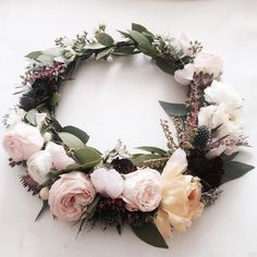 The Melissa Crown // Soft pink garden roses, ranunculus and pink rose quartz   www.thecrowncollective.co