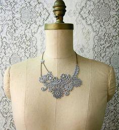 lace necklace ADIEU TRISTESSE pale grey von whiteowl auf Etsy, $32,00