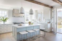 Light Blue Center island with Sleek Bar Stools - Transitional - Kitchen
