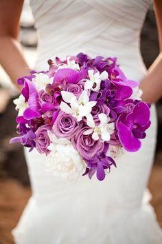 Orchid Wedding Bouquets in Brilliant Colors - via Happy Wedd