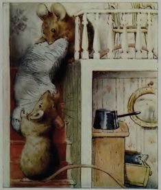 The mice drag the dolls' bolster down the staircase