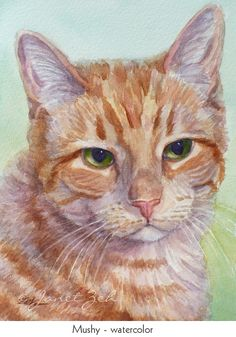 5x7 Custom Cat Portrait Watercolor or Oil Pet Painting by JanetZeh, $95.00