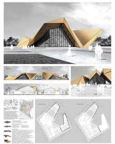 Awesome project by cultural center with big stage ⤵ Tag – Architecture is art Cultural Architecture, Architecture Pliage, Folding Architecture, Architecture Portfolio, Concept Architecture, Architecture Design, Presentation Board Design, Architecture Presentation Board, Site Analysis Architecture
