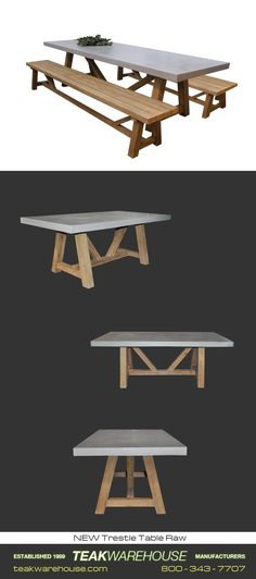Raw Concrete Trestle Tables are available from Teak Warehouse. Made of raw concrete  reclaimed Teak, these tables are stylishly edgy and long-lasting.