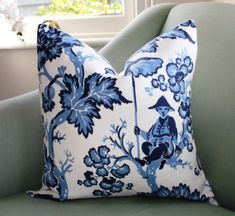 Bailey & Grffin Paradise Toile Pillow Cover by Aurelia6311 on Etsy