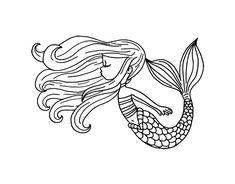 Dibujo de Sirena flotando para Colorear