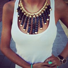 Giant statement necklaces.  Especially with a casual outfit. I Like it