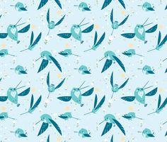 Blue Hummingbirds fabric by jellydraws on Spoonflower - custom fabric
