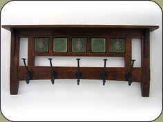 "Craftsman 5 hook Coat Rack w/ five 3"" Tiles. Created by John Shea."