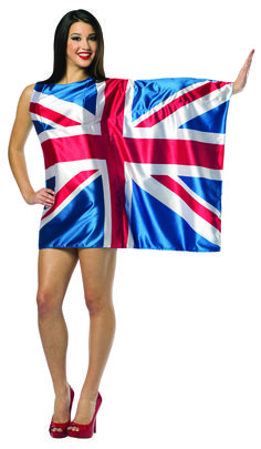 #1970 Flag Dress-UK - Show your pride, support, and love of country in your very own flag dress!  Raise and wave your left arm and everyone will sing your praise!  Polyester Satin.  Fits women sizes 4-8. #UK #UKFlag #parade #festival #halloween #funfest
