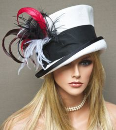 Kentucky Derby Hat Ascot  Hat White Black  Red Hat by AwardDesign, $120.00                                                                                                                                                      More