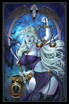 Lady Death Libra by ToolKitten · Part of a Lady Death zodiac series I am working on for Brian Pulido! Anime Sexy, Justitia Tattoo, Fantasy Girl, Dark Fantasy, Lady Justice, Drawn Art, Ecchi, Zodiac Art, Comics Girls