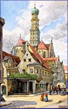 Augsburg, St. Ulrichskirche, Künstlerkarte v. Richard Wagner, um 1910