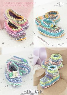 Sirdar Snuggly Baby Crofter DK Shoes Knitting Pattern 4514 - I Crochet World Crochet World, Knit Or Crochet, Crochet Baby, Knitting For Kids, Double Knitting, Baby Knitting, Knitted Booties, Baby Booties, Baby Shoes