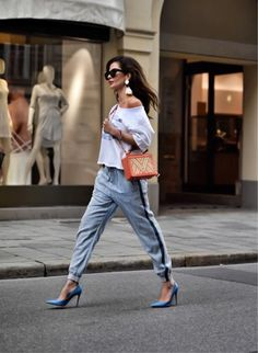 Strutting in oceanblue stilettos is so much easier when ur not a mermaid...you might want to read my prior post to get what I mean🐬🎏👠   http://liketk.it/2qVUB @liketoknow.it  . . . #ootd #wiwt #sporty #casualstyle #denimsweatpants #sweatshirt #offshoulder #offshouldersweater #highheels #stiletto #gianvitorossi #outfitinspo #offdutystyle #fashioninspiration #streetstylelook #styleinspo #dailylooks #streetstyle #lookbook #dailyinspiration #fashion #style #beststyles #mystyle #influencer…