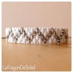 man woman bracelet Silver & white SuperDuo by LeRayonDeSoleil, €29.00