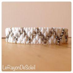 man woman bracelet Silver & white SuperDuo by LeRayonDeSoleil, €29.00