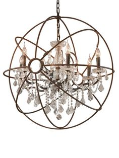 Restoration Hardware Foucault's Iron Orb Crystal Chandelier