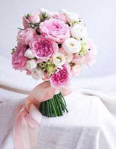 Classic and round pink and white wedding bouquet // Most Popular Bridal Bouquets