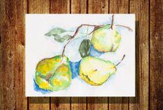 Green pears Watercolor Painting - Original Watercolor Illustration