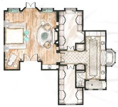 Floor Plan by Annie Beuker - National Raymond Waites Master Bedroom Suite Design Competition WINNER!