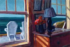 """Philip Koch, """"Edward Hopper's Truro Studio Bedroom"""", oil on panel, 14 x 21"""", 2013, Private collection, London.  I made a study for this oil on pastel while sitting on the edge of the bed in Hopper's bedroom. The windows look west out onto Cape Cod Bay- a stunning view Hopper would wake up to every morning."""