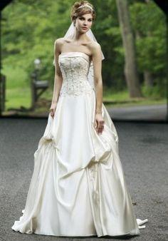 Satin Strapless A-Line Elegant Wedding Dress