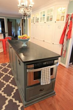 Built-In Drawer Microwave - love mine! And I never have problems with spills. And also, I can microwave my tall coffee cups. Kitchen Redo, Kitchen And Bath, New Kitchen, Kitchen Dining, Kitchen Remodel, Kitchen Cabinets, Kitchen Appliances, Kitchen Ideas, Kitchen Counters