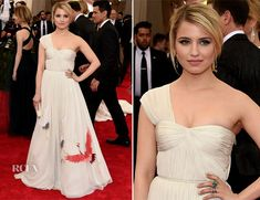 Dianna Agron In Tory Burch for the 2015 Met Gala. The dress and makeup are exquisite!