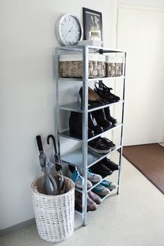 """Trying to think of storage ideas for my """"mud room"""" that don't look hideous.. minus the shoes showing this could work..."""