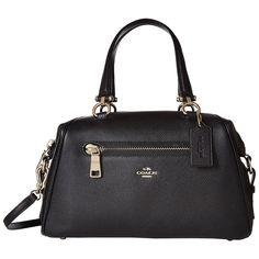 COACH Pebbled Primrose Satchel (LI/Black) Satchel Handbags ($350) ❤ liked on Polyvore featuring bags, handbags, handbag satchel, coach satchel, cell phone crossbody, coach handbags and crossbody handbag