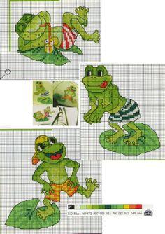 Cross Stitch Bookmarks, Cross Stitch Charts, Cross Stitch Patterns, Crochet Patterns, Frog Crafts, Cross Stitch Animals, Adult Crafts, Plastic Canvas Patterns, Cross Stitching
