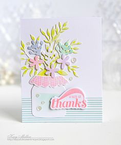 A Note Of Thanks Card by Kay Miller for Papertrey Ink (April 2016)