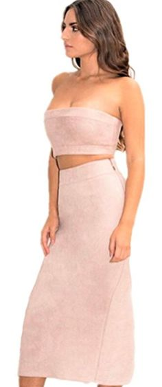 JeVenis Women's Sexy Strapless Suede Dress Offer Shoulder Club Party Bandage Dresses Bodycon Dress by JeVenis $ 13 99-$ 17 99