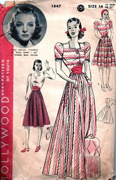 Vintage 1940's HOLLYWOOD Movie Star Sewing Pattern 1847 -  AMAZING One Piece Pajama or Hostess Frock with Full Trousers Skirt - Size 14