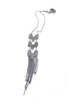 Pendant measures: inches x 1 inch/ 9 x Total length with fringe: 22 inches/ Fringe Necklace, Sterling Silver, Chain, Pendant, Handmade, Collection, Hand Made, Chains, Pendants