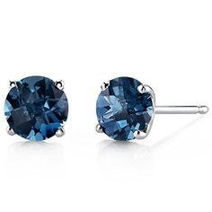 14 Karat White Gold Round Cut 2.00 Carats London Blue Topaz Stud Earrings Peora http://www.amazon.com/dp/B00EDS3PP2/ref=cm_sw_r_pi_dp_1jUivb0NA57AG