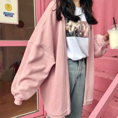 Free DHL Shipping PINKY OVERSIZE JACKET sold by Moooh! on Storenvy, the home of independent small businesses all over the world. Edgy Outfits, Korean Outfits, Retro Outfits, Mode Outfits, Cute Casual Outfits, Girl Outfits, Fashion Outfits, 90s Fashion, Pastel Outfit