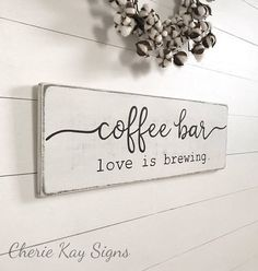 coffee sign, coffee bar » size 28 x 9.25 » painted lettering » background color options: off-white or white (white is a new color option as of 4/26/17) » lettering color: black » wire hanger installed on back for easy hanging » made from 3/4 thick white pine wood; there may be knots