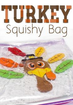 How to make a turkey squishy bag! This make a turkey squishy bag sensory activity for toddlers and preschoolers takes less than five minutes to make, but provides lots of fine-motor practice for your little one! This is the perfect activity for Fall and Thanksgiving! Try making this turkey squishy bag for your kids this year! #holiday #toddler #kidsactivities #preschool #kids #thanksgiving