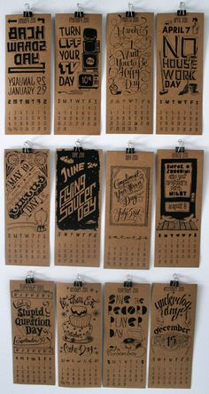 Uses typography to relate to the month. Kraft Calender