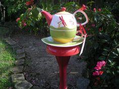 Garden Yard Art Garden Teapot Stake Vintage