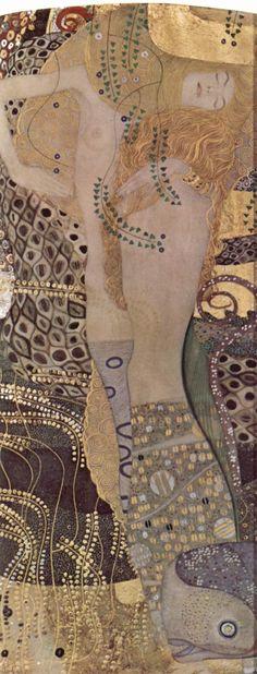 """Gustav Klimt, Wasser Schlangen I (Water Serpents I) (1904-1907)""""Wasserschlangen I, auch bekannt unter den Namen Freundinnen I, Pergament oder Schwestern, ist ein Gemälde des österreichischen Malers Gustav Klimt. Es wurde zwischen 1904 und 1907 in einer für die Goldene Periode des Künstlers typischen Mischtechnik mit Goldauflagen auf Pergament gemalt. Heute hängt das nur 50 x 20 cm große Bild wie viele andere Werke Klimts in der Österreichischen Galerie Belvedere.""""  (Wikipedia)"""